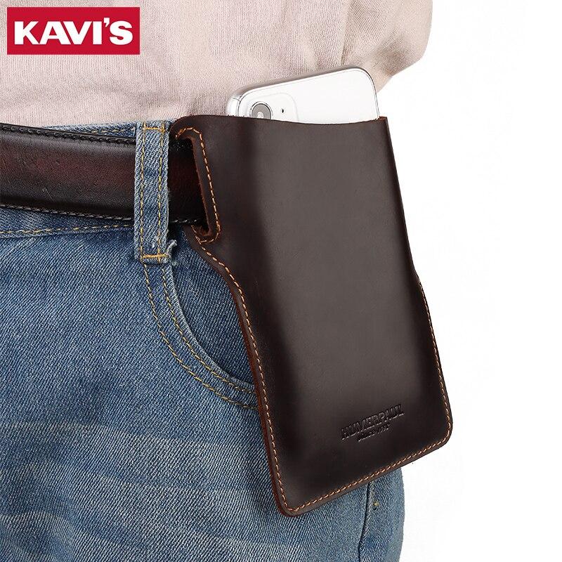 KAVIS cuero de vaca de calidad hombres funda para teléfono móvil cinturón riñonera hombre portátil teléfono cinturón bolsos cuero genuino moda para niños