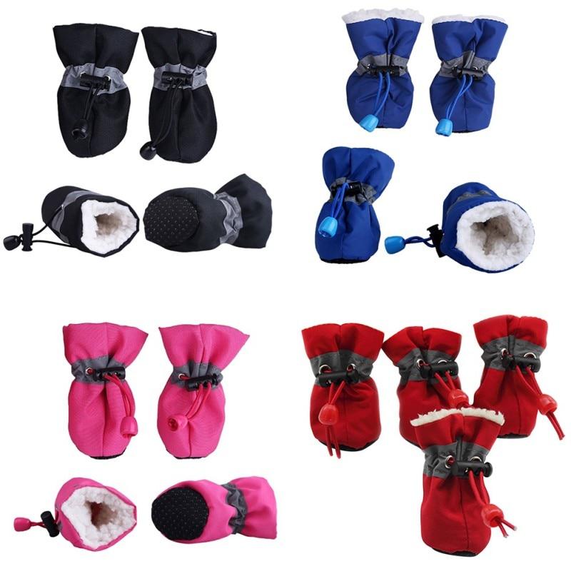 4pcs Winter Pet Dog Waterproof Shoes Anti-slip Rain Snow Boots Footwear Thick Warm For Small Cat Dog Socks Booties Pet Product
