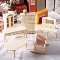 112 dollhouse baby house mini solid unpainwood furniture cradle crib dining table cabinet diy home accessory wodden decoration