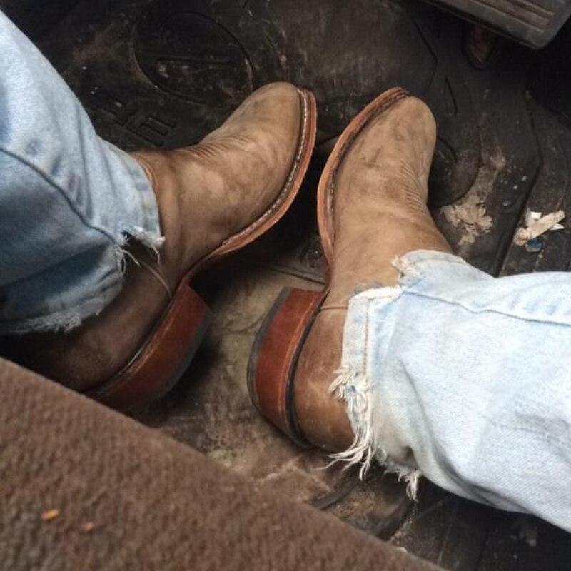 2021 جديد حذاء رجالي الموضة الكلاسيكية الرجعية اليدوية بلون الجلد المدبوغ رئيس مستديرة رائعة التطريز قبعات رعاة البقر الغربية الأحذية HL674