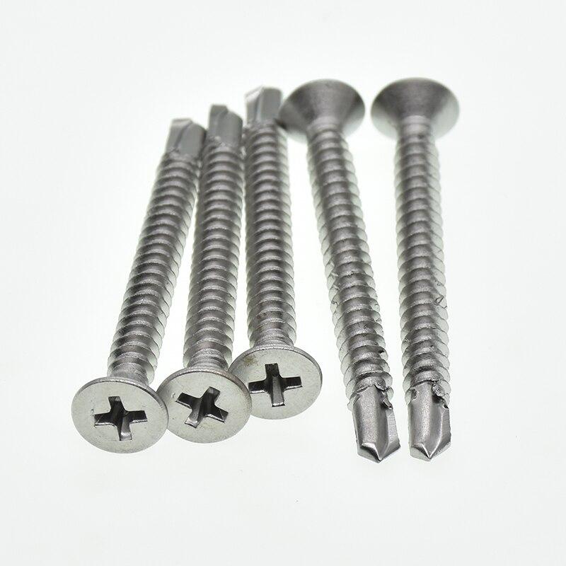 Tornillos autorroscantes de cabeza plana M4.2 M4.8 M5.5 tornillo de cola de perforación 410 acero inoxidable para chapa metálica