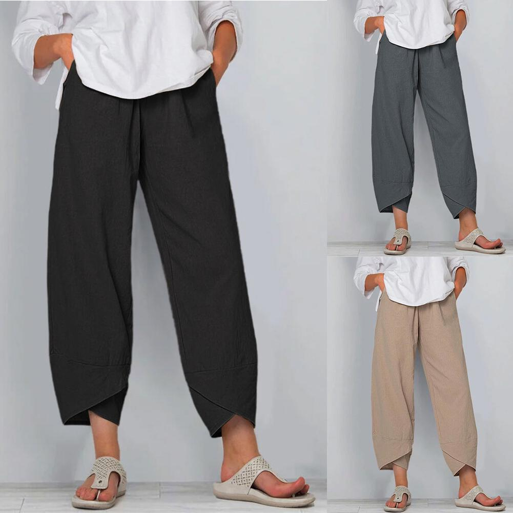 color block chest pocket dip hem tee Women Solid Color Pocket Irregular Hem Loose Cropped Pants Cotton Linen Trousers with Pockets Irregular Hem Loose Style Pants