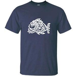 Мужская Трикотажная футболка Bad Fish с круглым вырезом, мужские рубашки, хлопковые топы в стиле хип-хоп