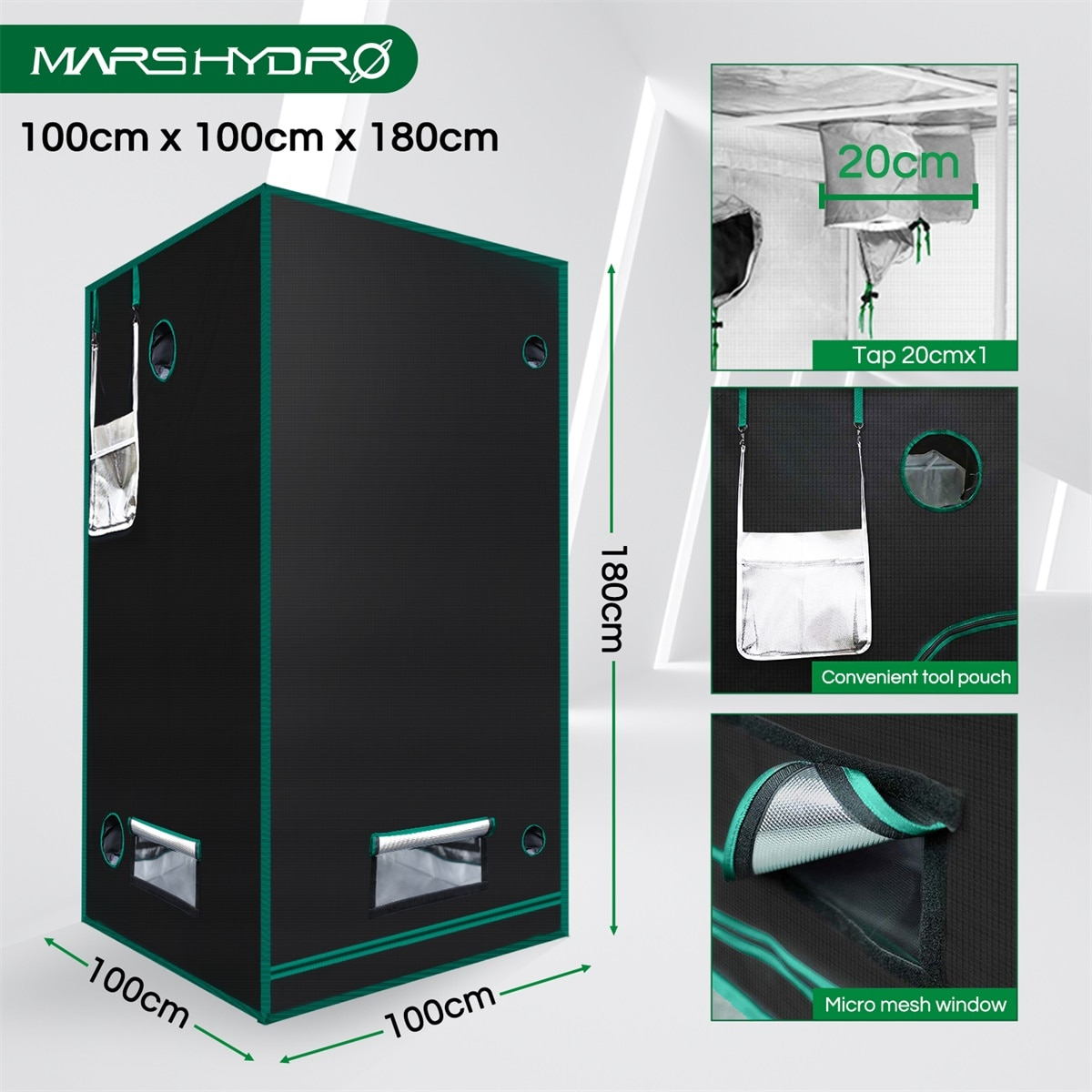 Marshydro 100x100x180cm Grow Tent 1680D indoor garden hydroponic system plant led greenhouse  3'3''x3'3''x5'11'' growing tents enlarge