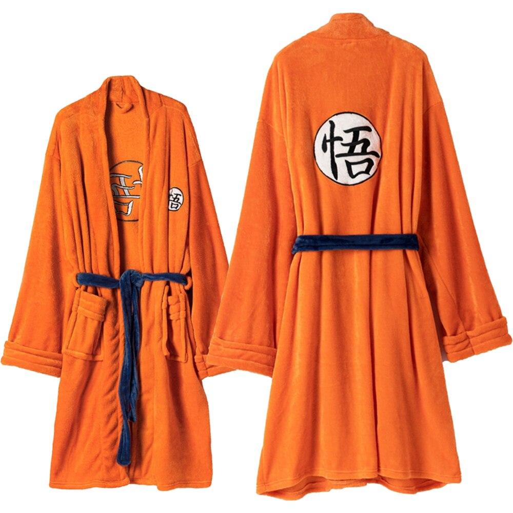 Bata de baño de franela de Dragon Ball Anime Son Goku Cosplay disfraz Otoño Invierno felpa sólida gruesa cálida bata de baño larga