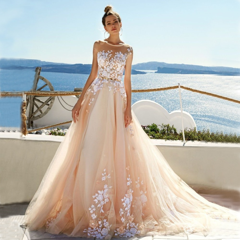 Vestido De novia escarpado Top Scoop Light Champagne tul De encaje y apliques espalda descubierta Vestido De novia Mine Vestido De boda 2020