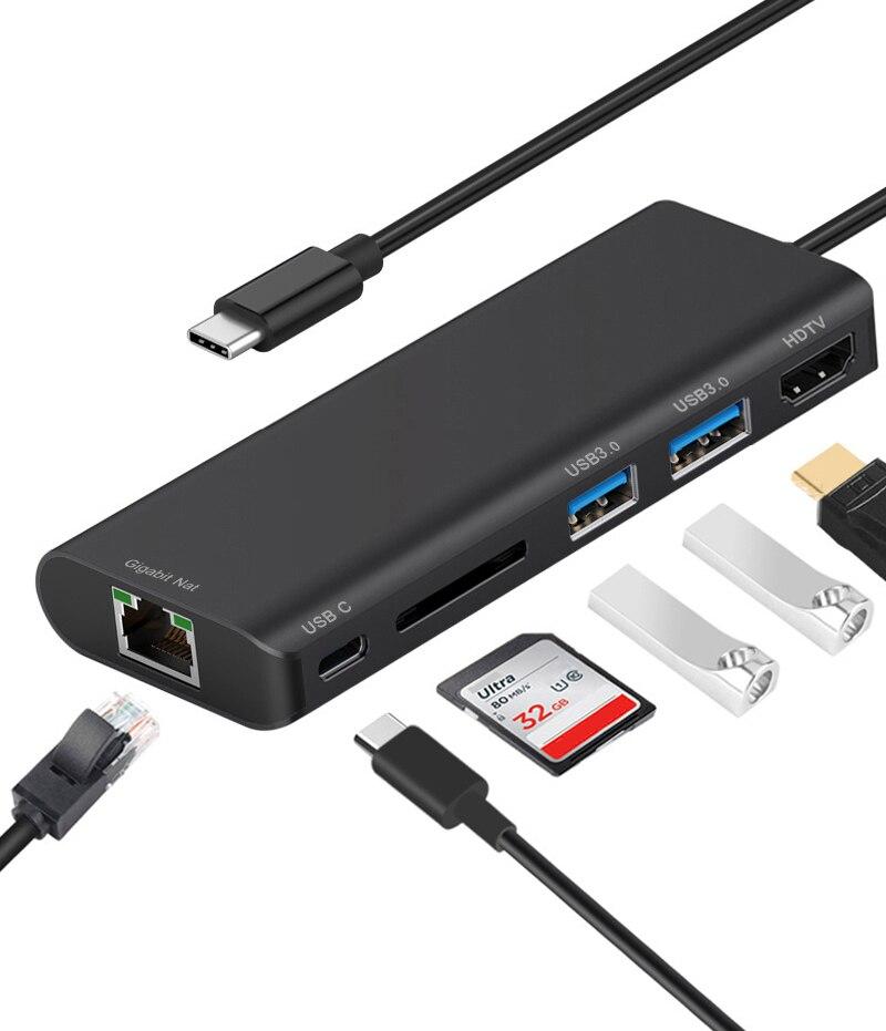 USB 3.0 HUB Type C إلى HDTV 4K ، محول فيديو ، 1000 ميجابت في الثانية ، جيجابت إيثرنت Lan ، محول فيديو لشاشة الكمبيوتر المحمول MacBook
