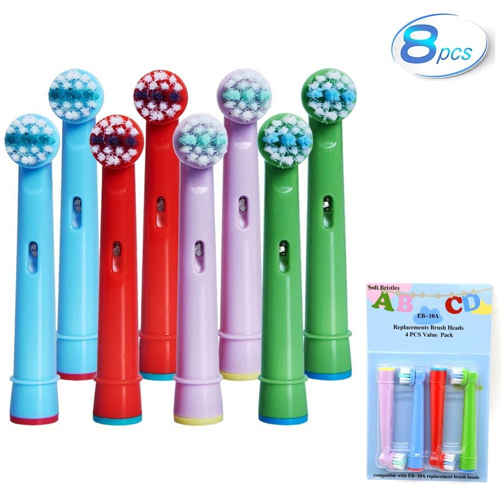 8pcs kid children electric replacement toothbrush head for oral b pro health stages interclean white clean 3d excel professional 8Pcs Replacement Kids Children Tooth Brush Heads For Oral B EB-10A Pro-Health Stages Electric Toothbrush Oral Care, 3D Excel