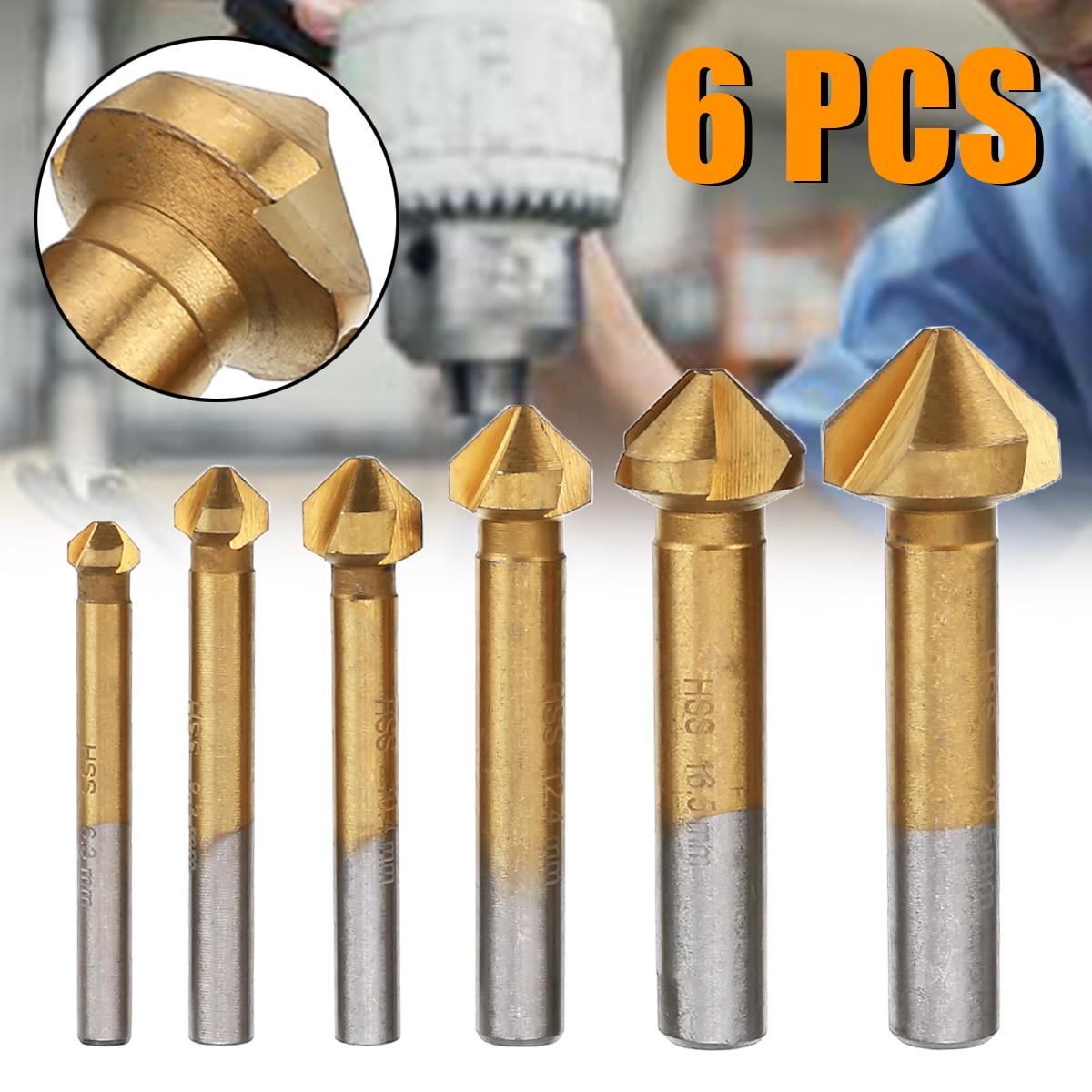 6 peças de chanfradura redonda da pata cortador de chanfradura 90 graus chanfradura fresa chanfradura conjunto de brocas 6.3mm-20.5mm