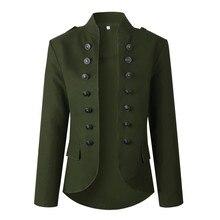 JAYCOSIN Womens Blazer New Fashion Ladies Retro Button Pockets Bomber Jacket blazers female Casual Coat Outwear Stand collar