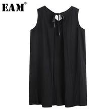 [EAM] Women Black Back Hollow Out Bandage Big Size Dress New V-Neck Sleeveless Loose Fit Fashion Tide Spring Summer 2020 1T895