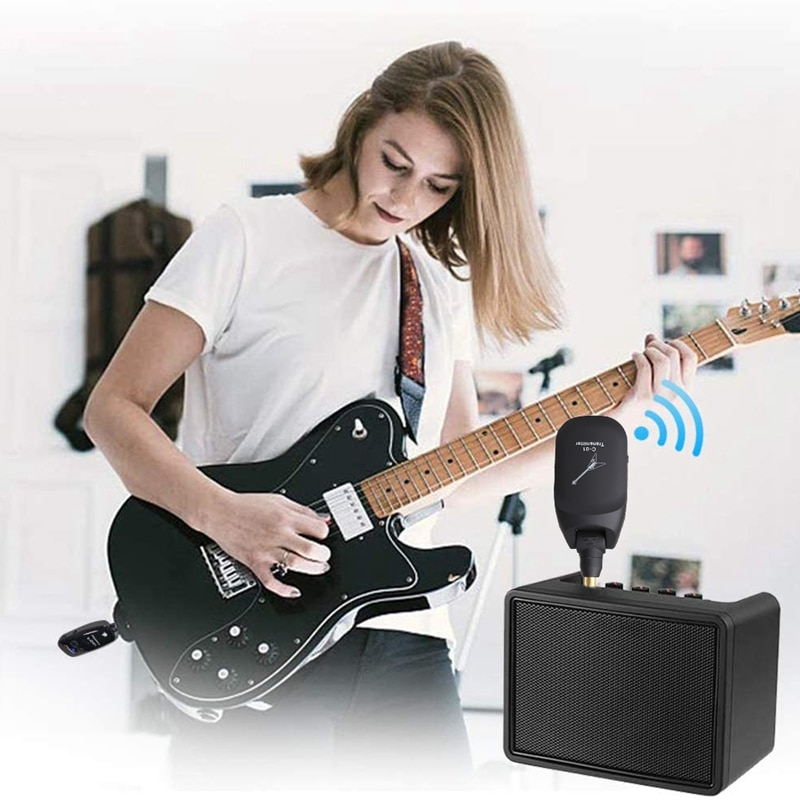Wireless Guitar System Built-in Rechargeable 4 Channels Wireless Guitar Transmitter Receiver for Electric Guitar Bass wholesale enlarge