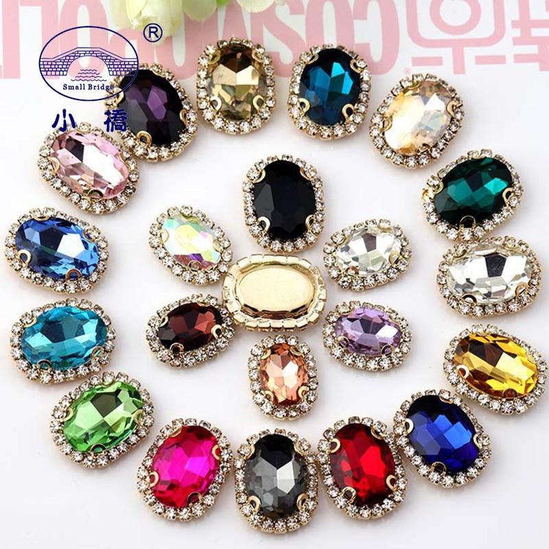 Diamantes de imitación con parte posterior plana de cristal para ropa zapatos con forma de botón dorado piedras para coser diamantes de imitación ovalados diy con garra S170