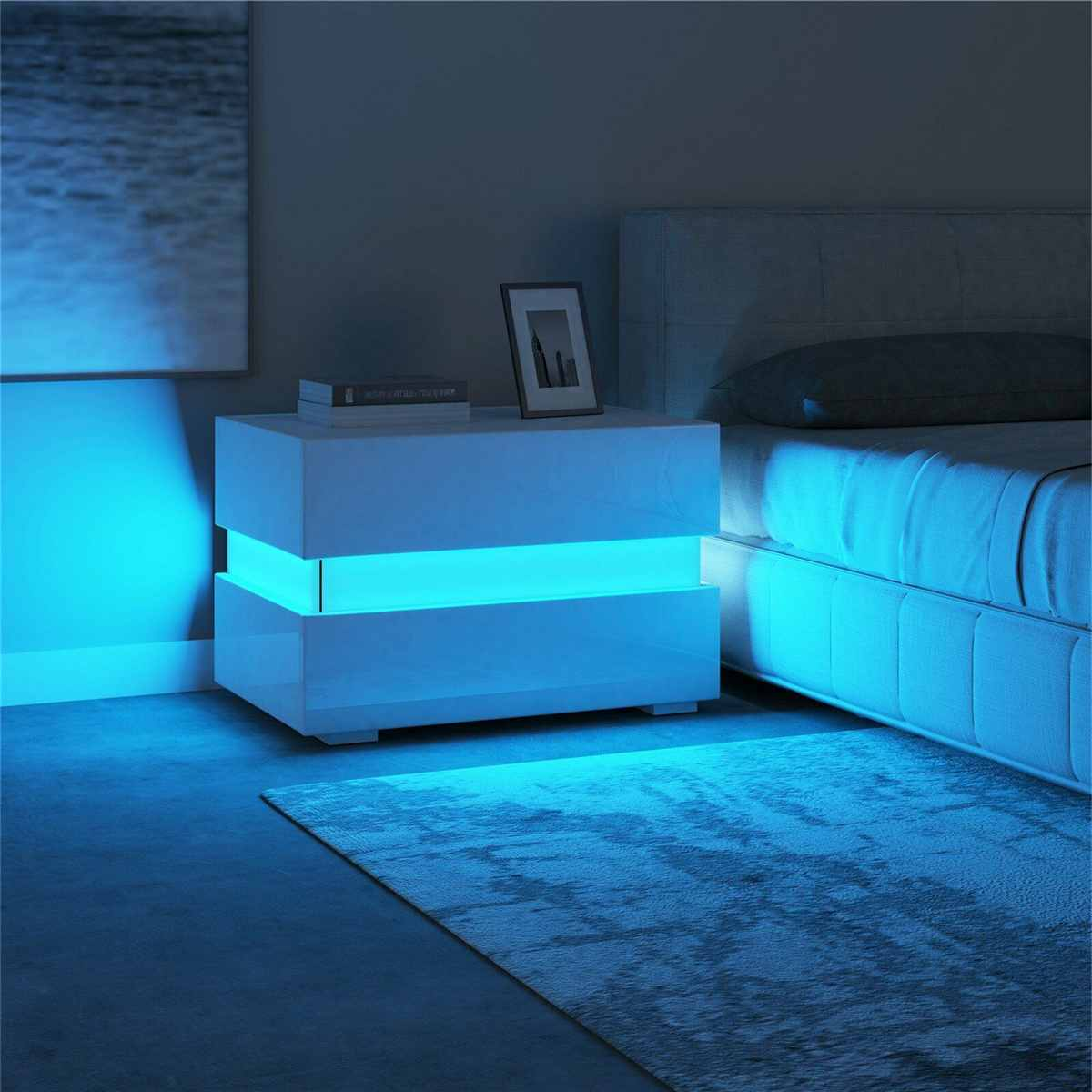 Modern Luxury LED Light Nightstand w/2 Drawers Organizer Storage Cabinet Bedside Table Bedroom Furniture for Night 20 Colors