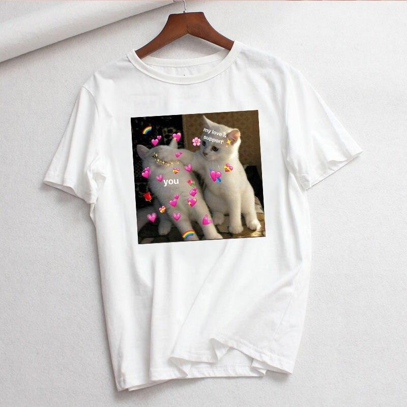 Graphic tees tops Kawaii Cat tshirts women funny t shirt O-neck T-shirt Vintage Vogue Ullzang  Mujer_T-Shirt