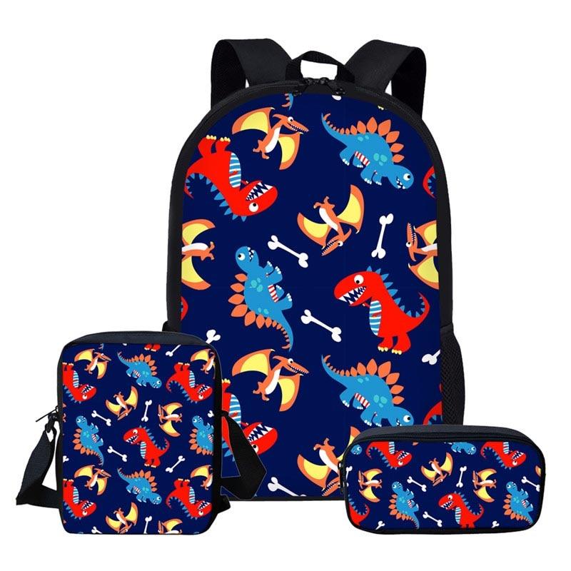 Комплект детской одежды из 3-х предметов начальной школы рюкзак для мальчиков с изображением динозавра из мультфильма школьные сумки для ма...