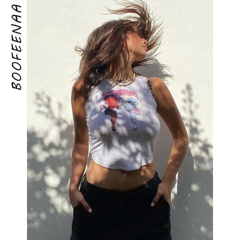 BOOFEENAA camisetas sin mangas con gráfico bonito estampado de dibujo animado de Ángel diablo leopardo blanco elegante Camiseta corta sin mangas de algodón C98-AI10
