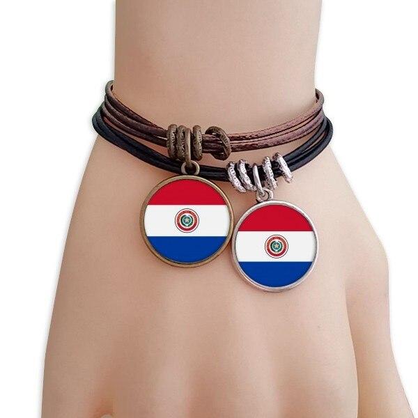 Juego de pulseras de países de América del Sur con doble cuerda de cuero