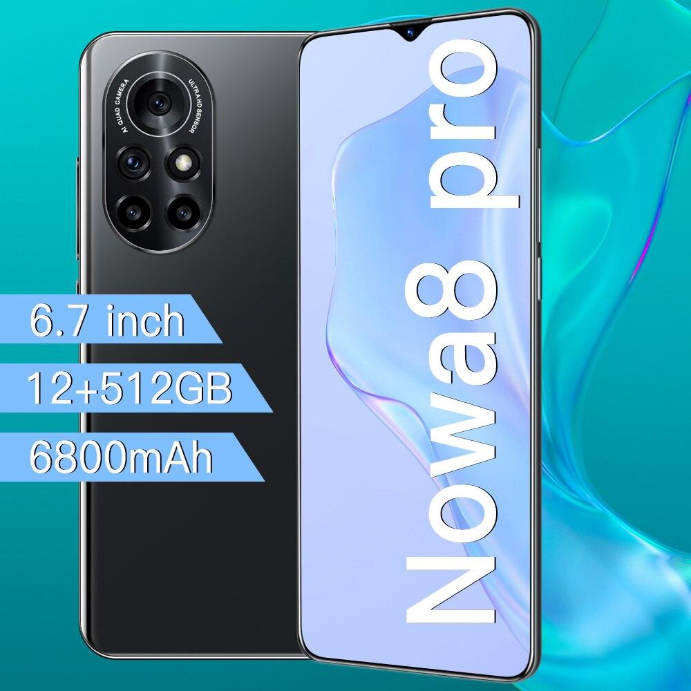 Nowa 8 Pro هاتف خلوي أندرويد 10.0 بشريحتين هاتف ذكي غير معروف شاشة 6.7 بوصة عالية الدقة MTK 6889 Deca Core 12GB + 512GB إصدار عالمي