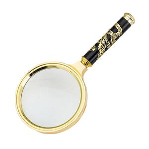 Portable Handheld 10X Magnifying Glass 60mm 70mm 80mm 90mm 100mm Retro Handle Magnifier Eye Glass For Reading Books Newspapers