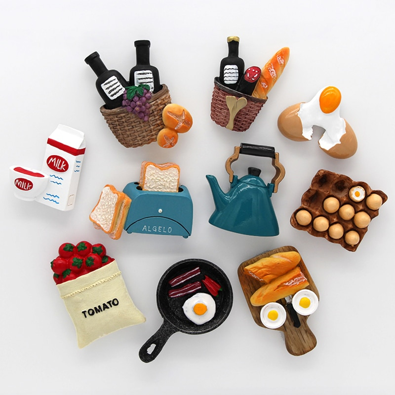 Home decoration magnetic refrigerator paste sticky notes bread machine tomato egg pan teapot milk mo