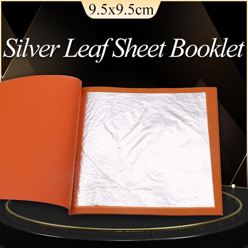 99.99% folha de prata 9.5cm 25 folhas pelo livreto folha de ouro comestível prata para decoração de alimentos, cosméticos, arte e ofícios, papel dourado
