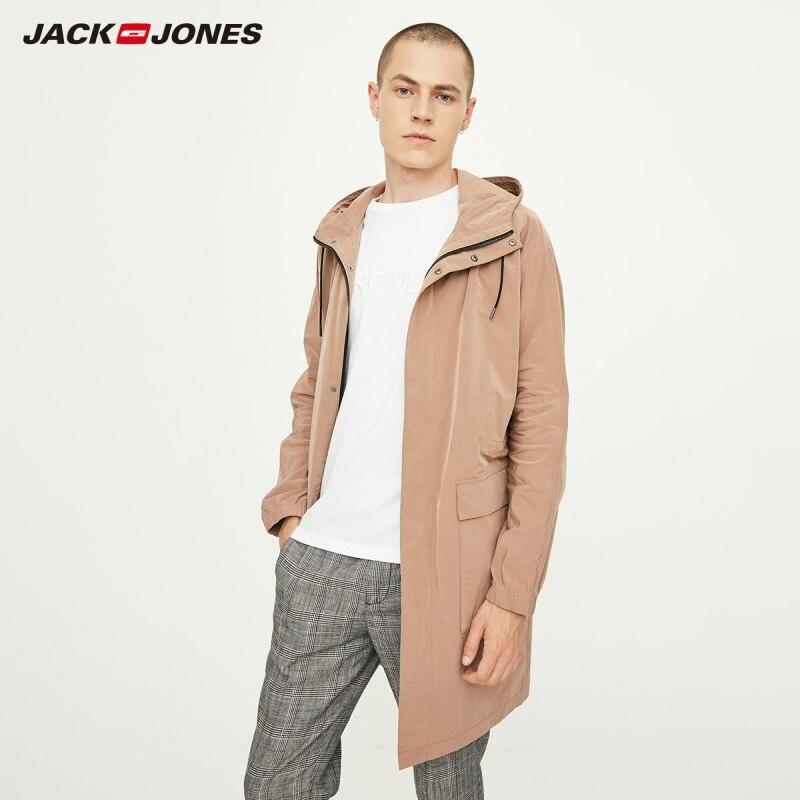 JackJones Men's Light Weight Trench Coat Casual Hooded Windbreaker Jacket  basic 218321543