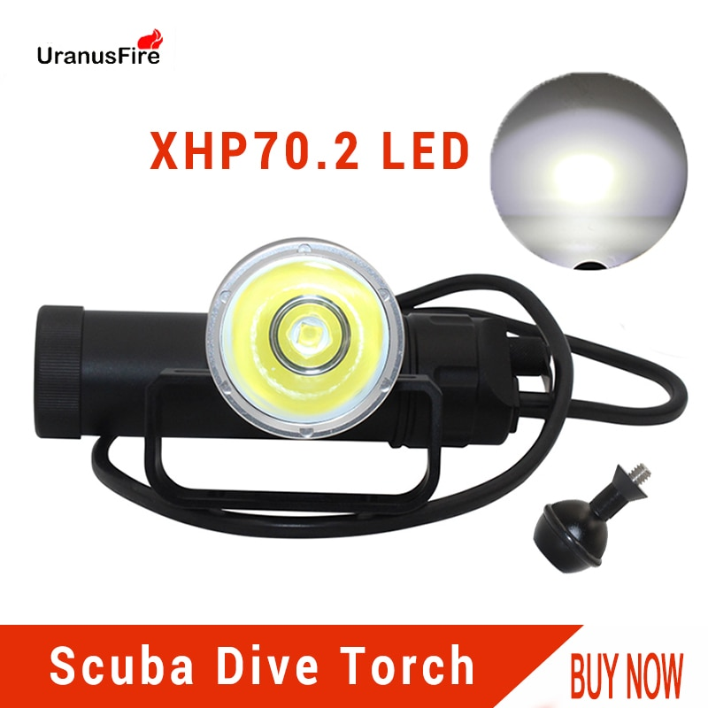 Uranusfire XHP70.2 LED Canister Dive Lamp light 4000lm Waterproof Diving Flashlight Underwater Video Torch powered by 8*18650 enlarge