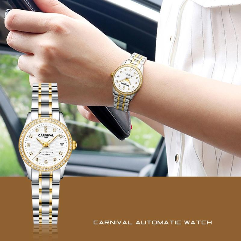 CARNIVAL Brand Women Automatic Wrist Watch Ladies Luxury Waterproof Luminous Sapphire Calendar Mechanical Clock Relogio Feminino enlarge