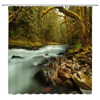 funny pebbles stones scenerys shower curtains waterfall forest landscape bathroom curtain multi size bathroom decorations