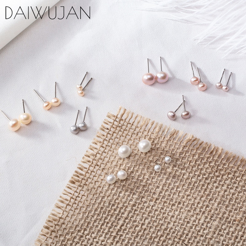 DAIWUJAN 925 Sterling Silver Pearl Stud Earring 7mm/5mm/3mm Genuine Freshwater White Purple Earrings for Women Jewelry