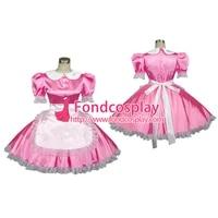 sexy sissy maid satin pink dress lockable uniform cosplay costume tailor madeg192