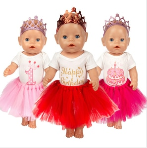 """Birthday Dress Set for 17 Inch 43cm Baby Doll Clothes for Baby Girl Birthday Festival Gift 18"""" Doll Lace Dress"""