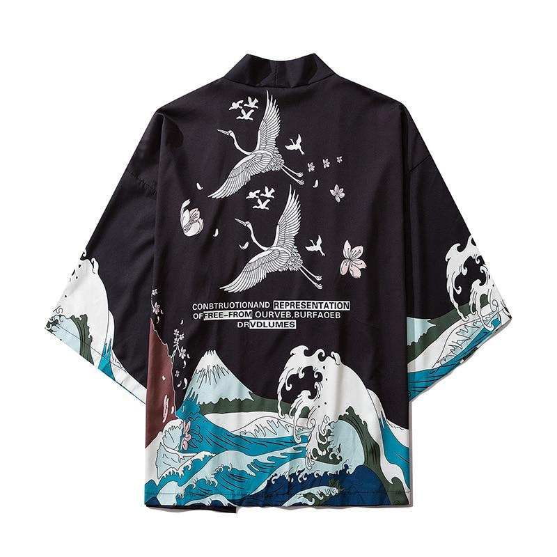 Japan Style Crane Printed Black Thin Kimono Men Japanese Streetwear Vintage Cardigan Jackets Casual Outerwear 2020