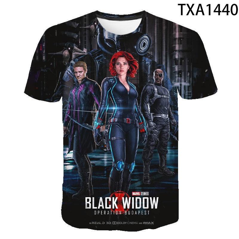 2020 nova menina menino crianças viúva negra verão moda casual das mulheres dos homens 3d impresso t camisa de manga curta legal topos t