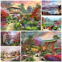 diy diamond painting beautiful historic building mosaic embroid cherry blossoms landscape cross stitch home decor holiday gift