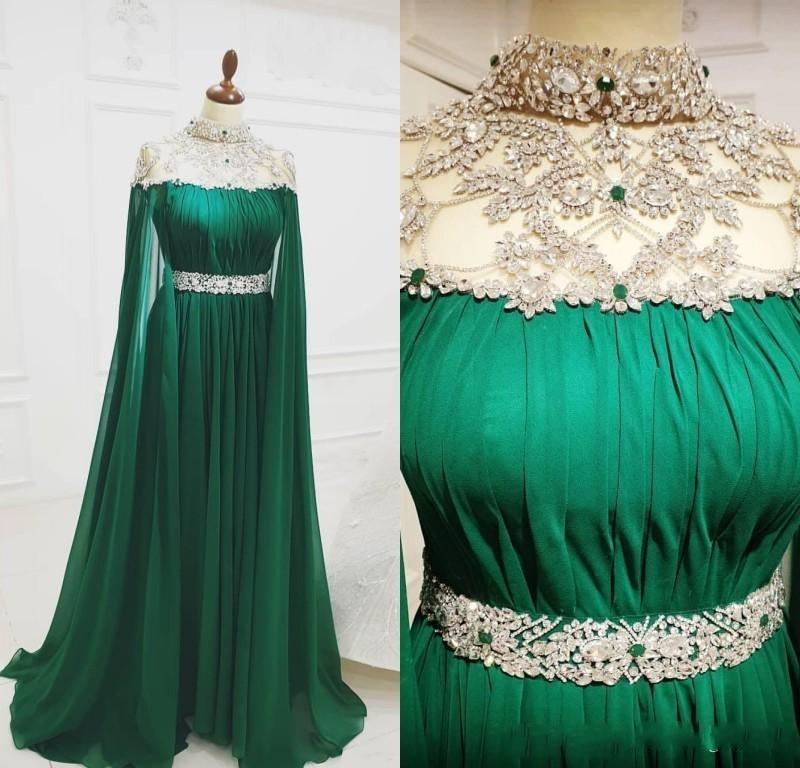 2020 árabe verde longo vestidos de noite grânulo cristal vestido de baile chiffon sexy festa formal segunda recepção vestidos robes de soiree