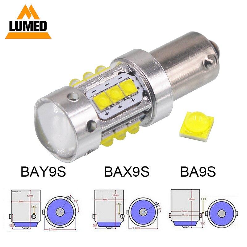 10pcs Car lamp BAY9S BA9S BAX9S XBD Chips Led White Canbus Error Free LED Reverse Lights 80W White