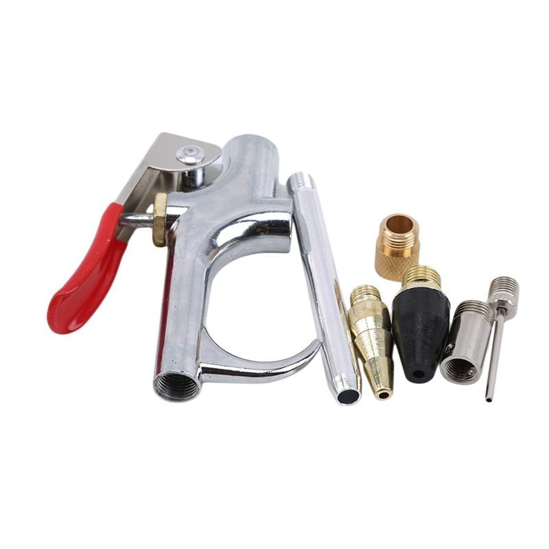1 Juego de compresor de aire para el hogar, Kit de pistola de aire comprimido, herramienta de soplado, boquilla de aleación de Zinc, herramienta de limpieza para accesorios de compresor