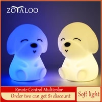touch sensor rmote control 16 colors dog shape led night light dimmable usb silicone puppy lamp for children kids baby