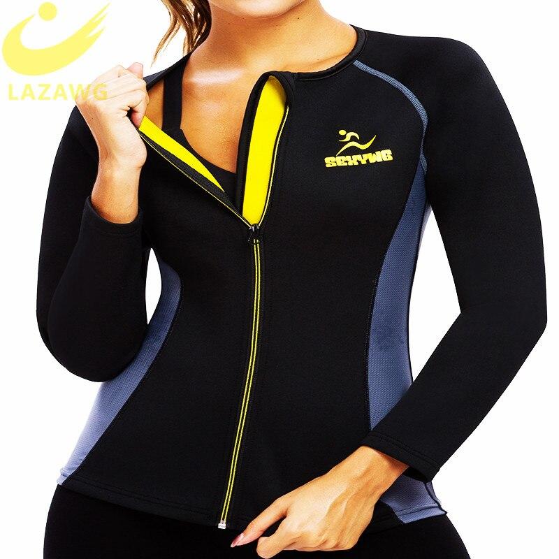 Chaleco de Sauna de neopreno LAZAWG para mujer con mangas gimnasio sudor caliente Sauna moldeador de cuerpo barriga quemador de grasa chaqueta de entrenamiento cremallera completa