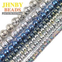 JHNBY-pierre naturelle, lave naturelle, bleu, jaune et vert, 4/6/8/10/12MM, perles amples, pour la fabrication de bijoux, bracelets à faire soi-même