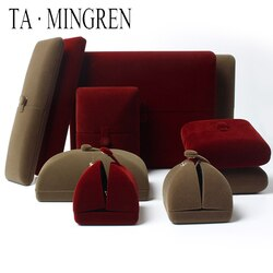 Ta mingren novo produto de luxo casamento veludo inserir jóias anel caixa caixa do cliente colar caixa