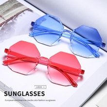 New Fashion Frameless Multilateral Glasses Dazzling Color Atmospheric Glasses Luxury Sunglasses Shad