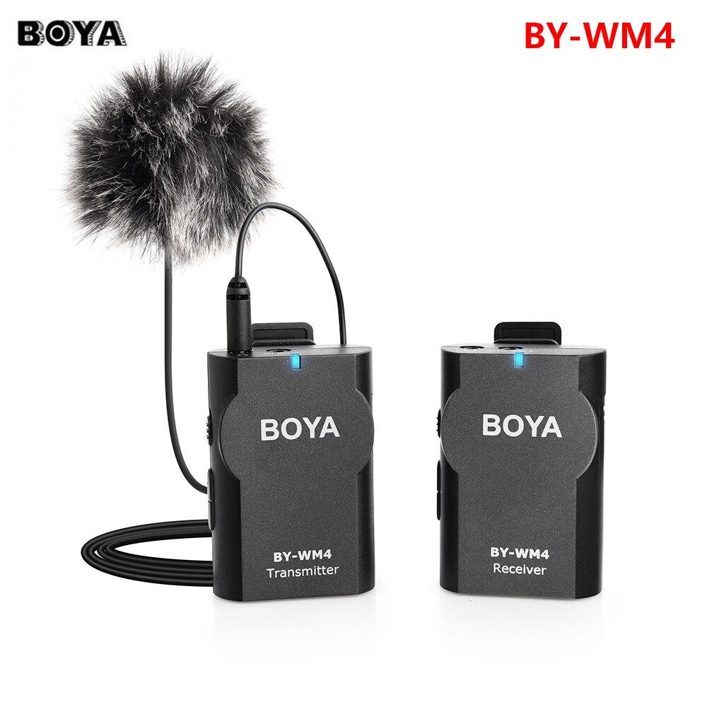 BOYA BY-WM4 ميكروفون لاسلكي لافلير نظام آيفون أندرويد الهاتف الذكي كاميرا كانون نيكون سوني باناسونيك كاميرات DSLR