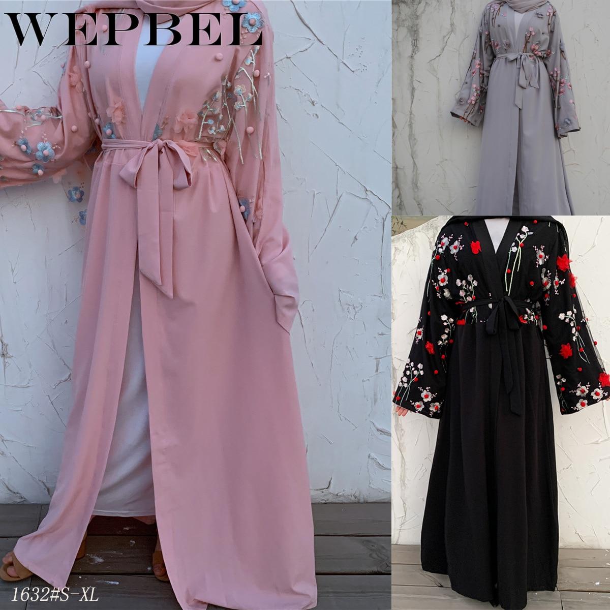 Wepbel vestido musulmán estéreo de malla árabe Abaya suelta de encaje Cardigan turco túnicas Slim Fit manga larga marcaín Kimono Kaftan