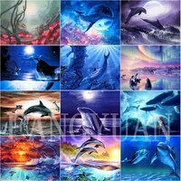 5d diamond painting dolphin full round square diamond embroidery cartoon animals pictures of rhinestones cross stitch home decor