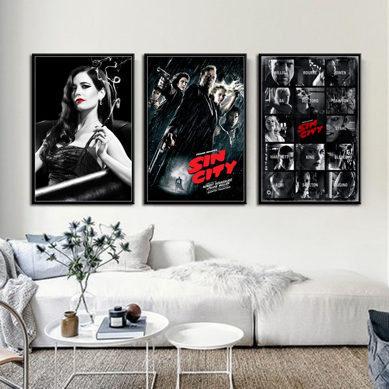 sin-city-quentin-tarantino-movie-hot-art-painting-silk-canvas-poster-wall-home-decor-картины-на-стену