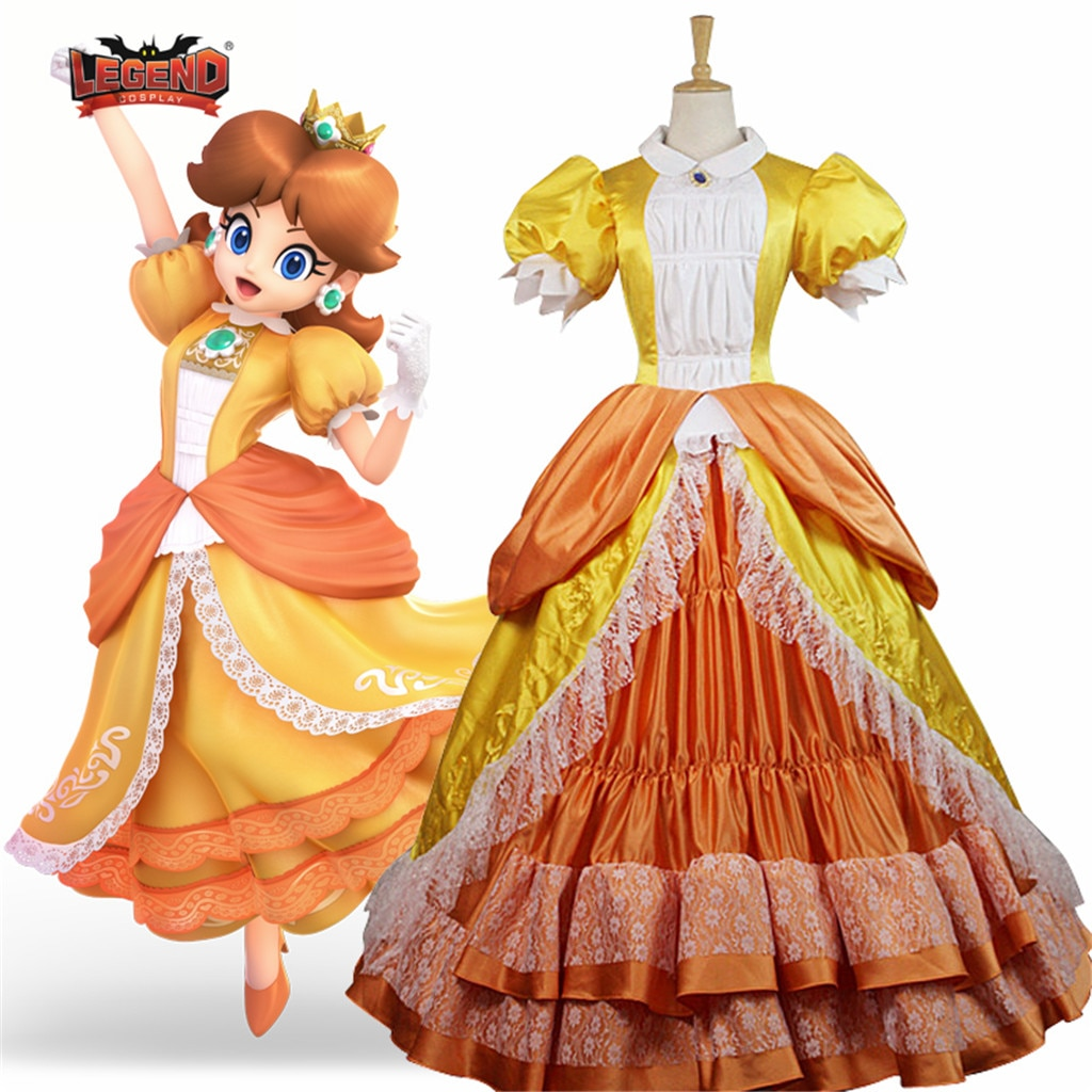 Super Mario Princess Peach Daisy Dress Cosplay Costume For Adult daisy yellow dress