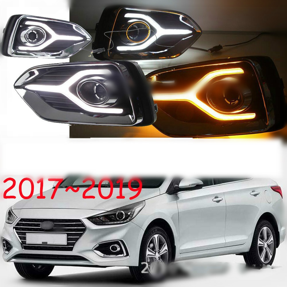For Hyundai Solaris Accent 2017 2018 12V LED Car DRL Daytime Running Light fog lamp with Turn Yellow Signal style Relay
